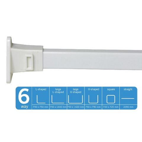 Croydex Modular White 6 Way Shower Curtain Rail Rod Kit